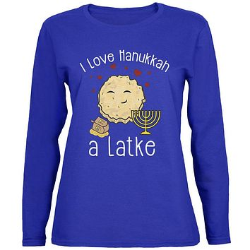 I Love Hannukah a Lot Latke Womens Long Sleeve T Shirt