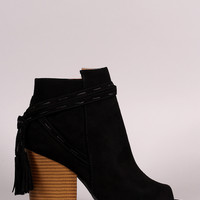 Qupid Wrap Tassel Peep Toe Booties