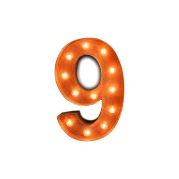 "12"" Number 9 (Nine) Sign Vintage Marquee Lights"