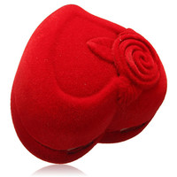 Velvet Red Rose Heart Shaped Jewelry Boxes