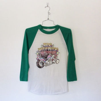 Vintage 1970 - 80s Ride With Pride / Motorcycle Glitter Iron on Baseball Tee / Unisex T-shirt