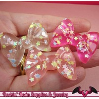 CONFETTI STAR BOWS Kawaii Cabochons / Flatback Decoden Resin Cabochons (5 pieces)