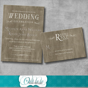 Rustic Elegant Wedding Invitation with matching Response Card - DIY - Printable - CUSTOMIZABLE