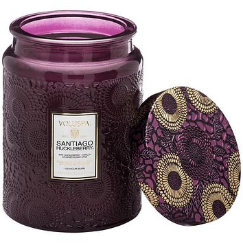 VOLUSPA Santiago Huckleberry LARGE EMBOSSED GLASS JAR CANDLE