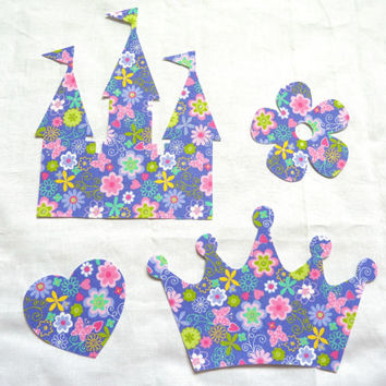 Castle Crown Iron On Applique Fabric Heart Flower Girl Set of 4