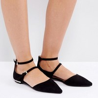 Coco Wren Double Buckle Flat Shoe at asos.com