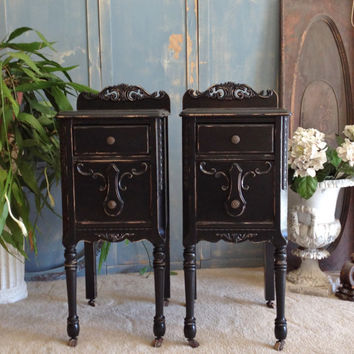 Black Painted Nightstands YOU ORDER We Find Antique Nightstands And Refinish For You CUSTOM The Shabby Chic Furniture Shabby Nightstands