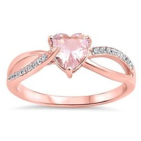 Sterling Silver Rose Gold Plated Heart Morganite Accented Ring