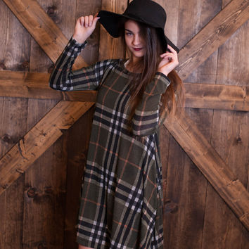 Plaid Knit Shift Dress- Olive
