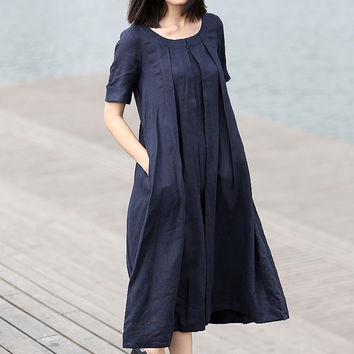 Linen dress for Women in Navy Blue dress (C270)