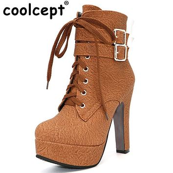 Women High Heel Ankle Boots With Zipper Closure