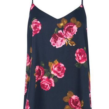 Libby Rose Print Woven Strappy Back Cami