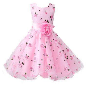 New Girls Cotton Sleeveless Princess Dress with Flower for Children Clothes Kids Wedding Party Birthday Dresses Flowers Can Be D