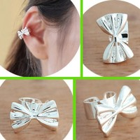 Silver Bow Ear Cuff (Single, Adjustable, No Piercing)