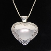 Southwestern Sterling Silver Heart Pendant and 24 inch Box Chain Necklace Vintage 1980s 1990s Retro Western Jewelry Signed 925 Gift For Her