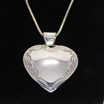 Southwestern Sterling Silver Heart Pendant and 24 inch Box Chain 4d4be16f75