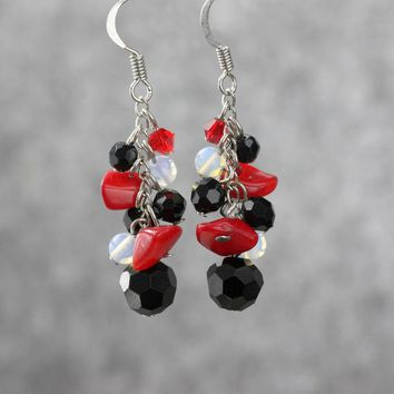 Black onyx moonstone red coral chunky dangling earrings Bridesmaids gifts Free US Shipping handmade Anni Designs