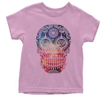 Galaxy Print Sugar Skull Youth T-shirt