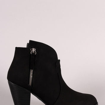 Qupid Nubuck Zipper Trim Chunky Heeled Booties