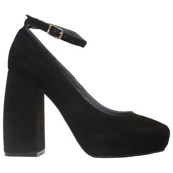 ONETOW Jeffrey Campbell Phair - Black Suede High Block Heel Pump
