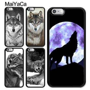 MaiYaCa Classic Cool Wolf Hipster Printed TPU Phone Case For Apple iPhone 5 5S SE 6 6S 7 8 Plus X Hard PC Phone Back Cover Cases