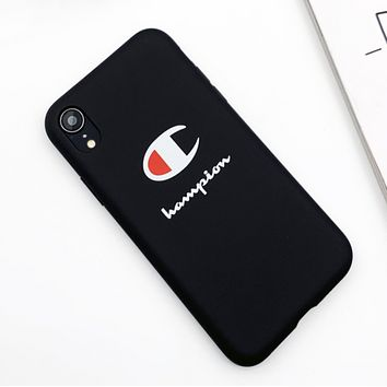 Champion New fashion letter print couple protective cover phone case Black