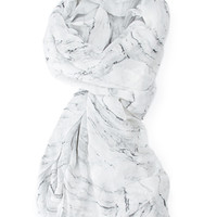 Frayed Marble Print Scarf