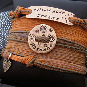 """D2E Graduation Silk wrap bracelet with hand stamped charms """"follow your dreams"""" personalized, magnetic clasp"""