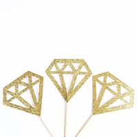 Gold Geometric Diamond Cupcake Toppers - Gold Glitter Cupcake Toppers - Wedding Decor // Engagement Party // Bridal Shower Decor