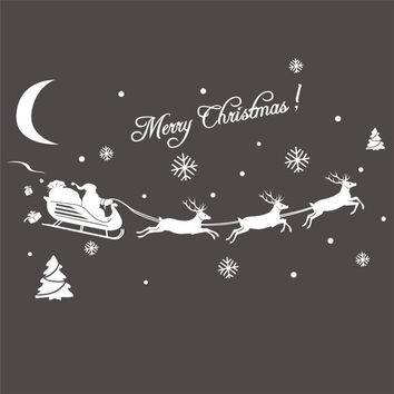 2016 Christmas Decoration Decal Window Stickers removable glass wall Xmas Merry Christmas Deer&Sleigh Ride wall sticker supply