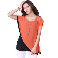 New 2015 Summer Novelty Women Blouses Plus Size 4XL Fashion Ladies Casual Chiffon Blouse Female Tops Orange Blusas Femininas = 1958438212