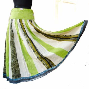 Gopi Skirt India Recycled Silk Sari Lime Green Full Skirt Small