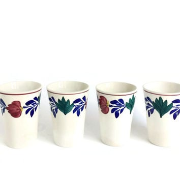 Dutch Stick Spatter Ceramic Teacups, Earthenware Cups Antique Societe Ceramique Maestricht , Dutch Folk Art Ceramic Water Tumblers