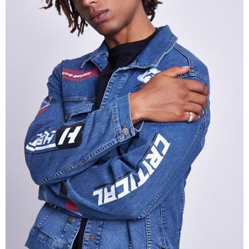 Mid Blue Motorcross Denim Jacket - Jaded