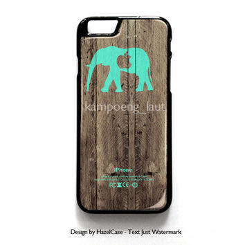 Mint Chevron Elephant On Dark Wood Background for iPhone 4 4S 5 5S 5C 6 6 Plus , iPod Touch 4 5  , Samsung Galaxy S3 S4 S5 Note 3 Note 4 , and HTC One X M7 M8 Case Cover