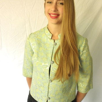 1960s Brocade Cropped Cocktail Jacket with Rhinestone Buttons // Vintage 60s Green Size Medium Jackpot Jen