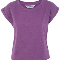 Purple Rollcuff Crop Tee - Tops  - Apparel
