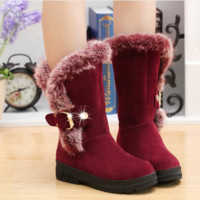 The new fall and winter snow boots with thick round female rabbit boots large thermal code in the tube snow boots