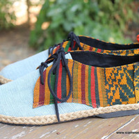 Vegan Oxfords, Men's Shoes In Natural Hemp & Colorful Laos Tribal Embroidery 8 / 8 1/2