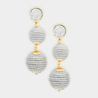 Silver & Gold Round Druzy Stone Drop Double Thread Ball Earrings