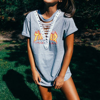 Reworked Gray Thrasher Lace Up Tee // Lace Up Top // Lace Up Shirt // LF Inspired