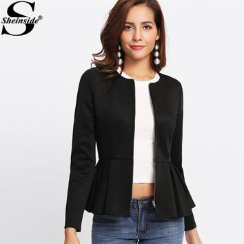 Sheinside Zip Up Box Pleated Peplum Jacket 2017 Black Round Neck Ruffle Hem Tiered Layer Elegant Jacket Women Slim Jacket