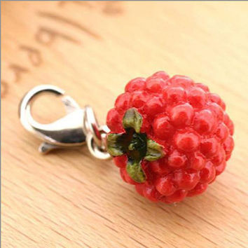 Delicious Kawaii Juicy Raspberry Miniature Food Fruit Sample Cell Phone Mobile Charm Strap Jewellery Accessory Necklace 7-FRPM030
