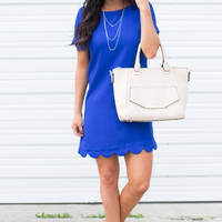 It Girl Scallop Trim Short Sleeve Dress - Royal Blue