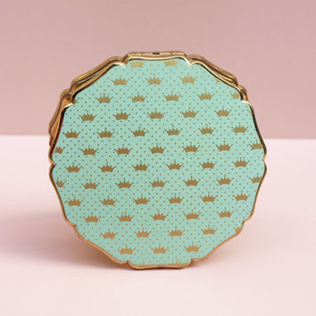 Powder Compact, Stratton Powder Compact, Mint Green, Crowns, Compact Mirror, Loose Powder, Enamel, Dressing Table, Gold Tone, Spots - 1950s
