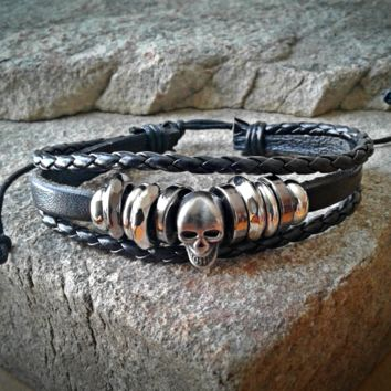 Skull Black Leather Adjustable Unisex Leather Weave Wrap Bracelets