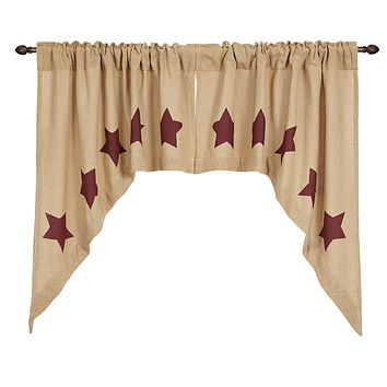 Burlap with Burgundy Stars Swag Curtains