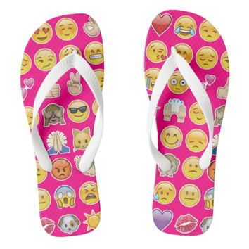 pink emoji flip flops sandals shoes