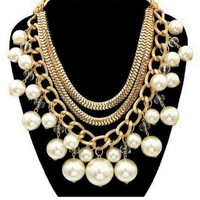 Gold Chain and Cream Pearl Statement Necklace