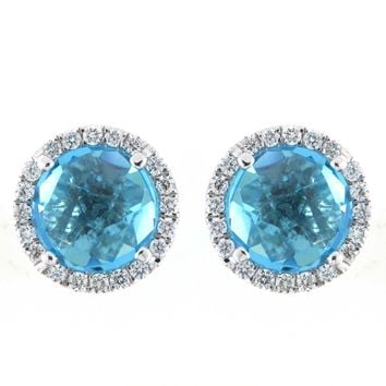 18k White Gold 0.24ct Diamond and 3.23ct TGW Blue Topaz Gemstone Stud Earrings